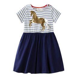 $enCountryForm.capitalKeyWord UK - 2019 New Girls Stripe Patchwork Dress Kids Summer Short Sleeve Horse Sequins Applique Cotton Cartoon Princess Dresses Cute design Clothing B