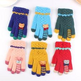 Kid S Gloves Australia - High Quality Winter Pupils Children 's Fingers Double Thick Warm Gloves Knitting Velvet Gloves Boys Girl Knitted for Kids