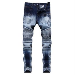 Discount red plaid pants plus size - Mens Distressed Ripped Skinny Jeans Denim Shorts Fashion Designer Slim Fit Motorcycle Moto Biker Mens Denim Pants Hip Ho