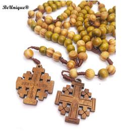 $enCountryForm.capitalKeyWord Australia - 2019 New Christian Wooden bead rosary necklace Riligious symbols JERUSALEM logo wooden Cross pendant Catholic Jesus charms