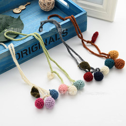 korea necklaces Australia - Korea Cotton Cloth Cute Leaf Ball Children Girl Kids Necklace & Pendant Baby Chain Collars Jewelry Accessories-TMMJCGNL014F
