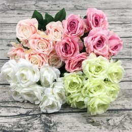 "white rose oil wholesale Canada - Fake Irish Rose (7 heads bunch) 18.9"" Length Simulation Oil Painting Roses for Wedding Home Decorative Artificial Flowers"