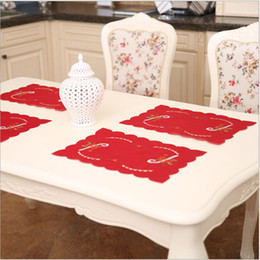 table cloth sizing 2019 - 4 Size Polyester Christmas Table Mat Kitchen Dinning Table Cloth Placemat Decoration cheap table cloth sizing