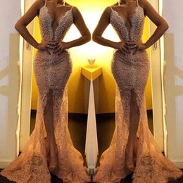 sexy back club pearls Australia - 2020 Hot Sale Sexy Evening Dresses Wear Spaghetti Straps Lace Appliques Front Split Pearls Mermaid Backless Sweep Train Party Prom Gowns