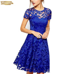 red cap clothes Australia - Plus 5Xl Size Summer Dresses Fashion Elegant Hallow Out Lace Dress Sexy Party Princess Slim Vestidos Blue Red Designer Clothes