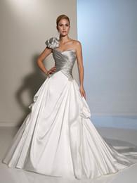 $enCountryForm.capitalKeyWord Australia - Silver Grey and Ivory Satin Wedding Dresses One Shoulder Pleats Satin Sweetheart Corset Back Two Toned Bridal Gowns Custom Made