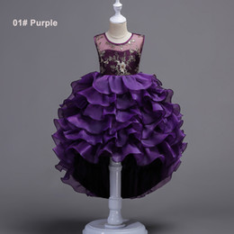 Embroidered Tutu NZ - Girls 3 to 14 years Summer tutu Embroidered dresses, Purple Gray Green Blue, baby kids & teenager boutique party clothes, 2AAX808DS-15