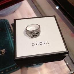 df40ab226 925 plata esterlina Viking ronda gran ancho Signet gg anillo dedo mujeres  hombres negro plata diseñador de moda joyería Vintage novio regalos