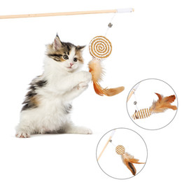 Bell Bird Toy NZ - Cat Pet Toy Teaser Multi Color Bird Feather Plush Cat Wand Catcher Teaser Stick Interactive Toys with bells