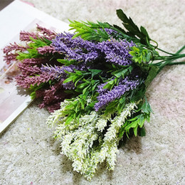 lavender home decor NZ - Foam Provence Lavender Bundle Decorative Artificial Flowers For Home Wedding Decoration Xmas Decor Fake Plants