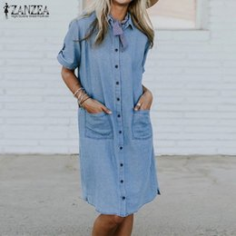 plus size spandex shirt Australia - Zanzea Plus Size Summer Dress Women Solid Casual Shirt Dress Female Turn Down Collar Party Vestido Robe Femme Beach Sundress 5xl J190719