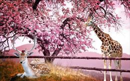 $enCountryForm.capitalKeyWord Australia - Custom Wallpaper 3D Stereoscopic Cherry blossom deer 3D TV background wall Art Wall Mural Living Room Bedroom Wallpaper
