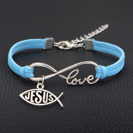 god bracelet wholesale NZ - High Quality Blue Leather Suede Bracelet & Bangles Personality Handmade Infinity Love Jesus & God Fish Heart Christian Jewelry For Men Women