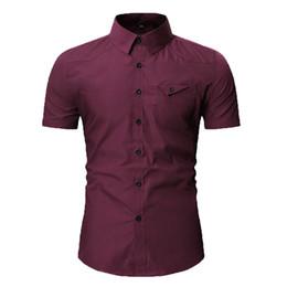 Polyester Short Sleeve Shirts Men Australia - Men shirt cotton Autumn Casual shirt Cargo Slim Button men Short Sleeve Top polyester blouse Casual Formal 0509