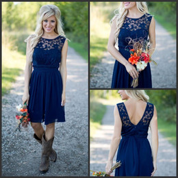 short lengths NZ - Country Style 2019 Newest Royal Blue Chiffon Lace Short Bridesmaid Dresses For Weddings Cheap Jewel Backless Knee Length Casual 1150