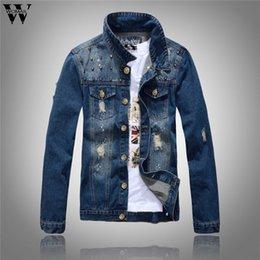 mens high collar zipper jacket 2019 - Men Autumn Winter Casual Jacket Long Sleeve Turn-down Collar Solid Denim Jacket Slim Mens Coats Casual Coat 2019 High Qu