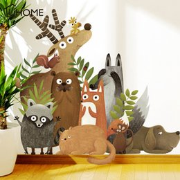 wall stickers rabbits UK - Home Decoration & Posters Stickers Forest Animals Elk Fox Rabbit Wall Stickers for Kids Room Children Wall Decal Nursery Bedroom