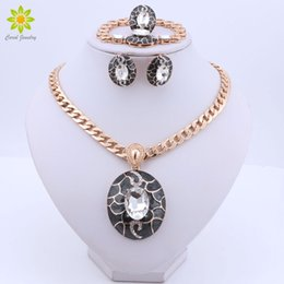 $enCountryForm.capitalKeyWord Australia - Luxury Dubai Jewelry Sets Clear Crystal Necklace Ring Earrings Bracelet for Women Bridal Jewelry Set Accessories Gifts