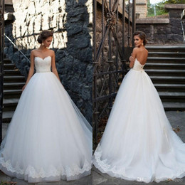 vintage puffy wedding dresses 2019 - 2019 Princess Puffy Ball Gown Wedding Dresses Sleeveless Sweetheart Beaded Sash Cathedral Train Tulle Vintage Bridal Gow