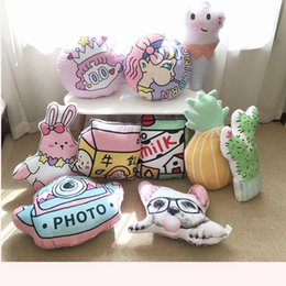camera japan Australia - 43cm New Rabbit&Piggy&Dog Plush Pillow Soft Cartoon Animal Simulation Milk Bottle Pumpkin Camera Stuffed Doll Kid Chair Cushion
