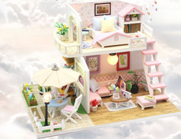 Pink Wooden Box Australia - 3D DIY Wooden Doll House Miniature with Furnitures Led lights Music Box Creavtive Eduacational Toys & Gift Handmade Craft PINK LOFT