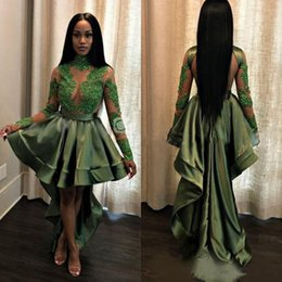 $enCountryForm.capitalKeyWord NZ - Green Black Girls High Low Prom Dresses 2019 Sexy See Through Appliques Sequins evening dress Long Sleeves Evening Gowns Cocktail Dress