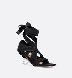 China 2019 Fashion black gray sandals for women Alien heel Fancy heel Clip toe shoes Women's shoes with cross ties cheap cross ties for women suppliers