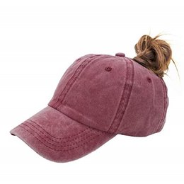 China Ponytail Baseball Hat Distressed Retro Washed Cotton Twill Solid Color Fashion Baseball Caps Ms. outdoor Visor Truck Driver hats bonnet suppliers