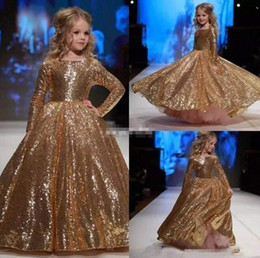 $enCountryForm.capitalKeyWord Australia - 2019 real picture gold sequined ball gown Flower Girl Dresses For Wedding long sleeves Princess Girls Pageant Gowns Children Communion Dress