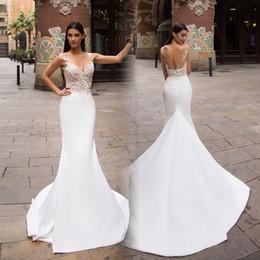 $enCountryForm.capitalKeyWord UK - Sheer Jewel Neck 2019 New Romantic White Generous Lace Satin Mermaid Wedding Dresses Long Sleeve Vestido De Novia Sexy Backless Bridal Gowns