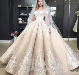 Spring princeSS online shopping - Gorgeous Off The Shoulder Lace Wedding Dresses Short Sleeves Appliques Lace Satin Ball Gown Wedding Dress Long Lace Up Back Bridal Gowns