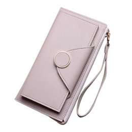 Lanyard Zipper UK - Women Long Wallets Zipper Lanyard Purse Girls PU Leather Double Layer Wallet MSJ99