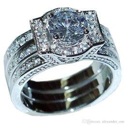$enCountryForm.capitalKeyWord Australia - Vintage Cocktail Engagement Wedding Bride Jewelry 10KT White gold filled Simulated Diamond CZ Gemstone Rings set for Women 2-in-1