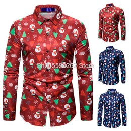 snowman paintings UK - European Size Men Christmas Snowman Printing Long Sleeve Shirt Male Slim Fit Business Leisure Joker Shirt Male