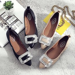 Ballet Flats Shoes Lady NZ - New women designer shoes ladies flat fashion pointed toe rhinestones soft leather bottom ballet flats,ladies crystal party dress shoes 35-41