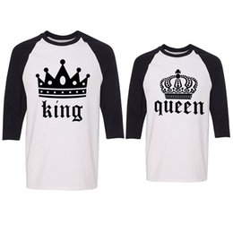 eafdc7cf25 Hot New Bodybuilding Slim Tees Shirts King Queen Couple Polos Cool Short  Sleeve T-shirts Letter Printing Tees