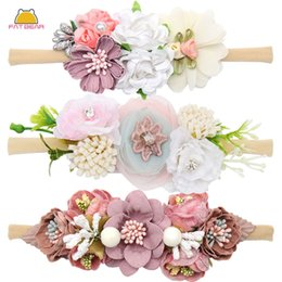 flower headdress for babies Canada - Peral Baby Headbands Flower For Girls Bundle Nylon Elastic Hair Band Baby Hairband Headdress Newborn Hair