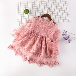 Linen dress for kids online shopping - Baby girls wedding dresses summer children fashion mesh embroidery clothing dress for girl kid long sleeve princess party dress girl clothes