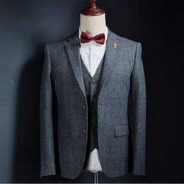 Custom Wool Suit Set Australia - Fashion Dark grey Wedding Tuxedos 2019 Slim Fit Mens Business Suit Groom suit 3 pieces set (Jacket + Pants + Bow) Custom made