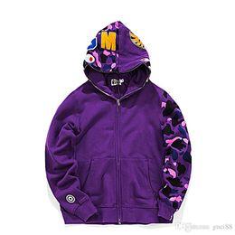 Wholesale hip hop heads for sale – custom Fashion Mens designer sweater a bathing aape shark head camo ape full zip jackets windbreaker hoodies hip hop mens designer winter coats