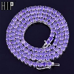 purple zircon necklace 2019 - Hip Hop Iced Out 4MM Purple Cubic Zircon 1 Row Tennis Chain Necklace Gold Silver Copper Necklace For Men's Women Je