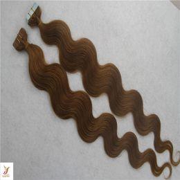 $enCountryForm.capitalKeyWord Australia - Darkest Brown Color Malaysian Virgin Body Wave Hair Extensions 10-30 Inchs Skin Weft Tape Hair Extensions 100% Human Hair Weav