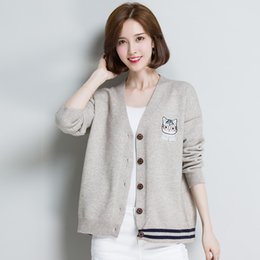 Discount clothes japan - Harajuku Loose coat sweater Knitted Kawaii cat Cardigan Jackets Japan Preppy Style Long Sleeve Sweaters korean Clothes M