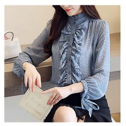 $enCountryForm.capitalKeyWord Australia - Fashion Spring Summer Vintage Spotted Print Chiffon Shirt Women Mesh Ruffles Blouse Casual Puff Sleeve Stand Collar Tops