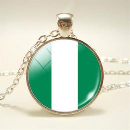 Necklaces Pendants Australia - New Bijoux Time Gem Glass Cabochon Nigeria National Flag World Cup Football Fan Pendants Statement Chain Necklace Choker Mens Womens Jewelry