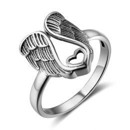 Angel wings heArt ring online shopping - Elegant Rings For Women Angel Wings Heart Shape Love Wedding Rings Vintage Stainless Steel Jewelry US Size