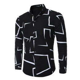 business shirt white NZ - High Quality Brand Fashion Casual Slim Geometric Print Long Sleeve Shirt Men Business Social White Top Clothes Q190518