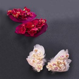 $enCountryForm.capitalKeyWord NZ - Fashion Feather Ring Peach Flower Bride Side Hair Clip Hair Accessory Wedding Jewelry Bridal Head Band Hair Band Party Prom