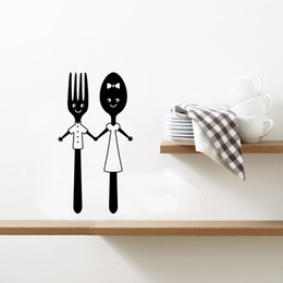 Tiles Design For Kitchen Wall Australia - Dining Cutlery Cute Spoon Fork Design Vinyl Mural Art Wall Sticker for Kitchen
