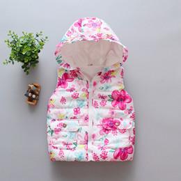 $enCountryForm.capitalKeyWord Australia - Autumn Winter Children's Vest for Girls Waistcoat Flower Sleeveless Jacket Baby Boys Cotton Hooded Waistcoat Kids Outerwear Warm